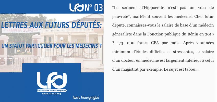 Lettres aux futurs députés n°3 : un statut particulier pour les médécins ?